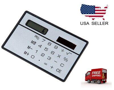 8 Digits Ultra Thin Mini Slim Credit Card Solar Power Pocket Calculator Portable