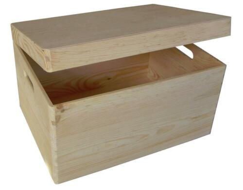 Large Plain Wooden Box Keepsake Memory Souvenirs Craft Storage Chest SK+PK