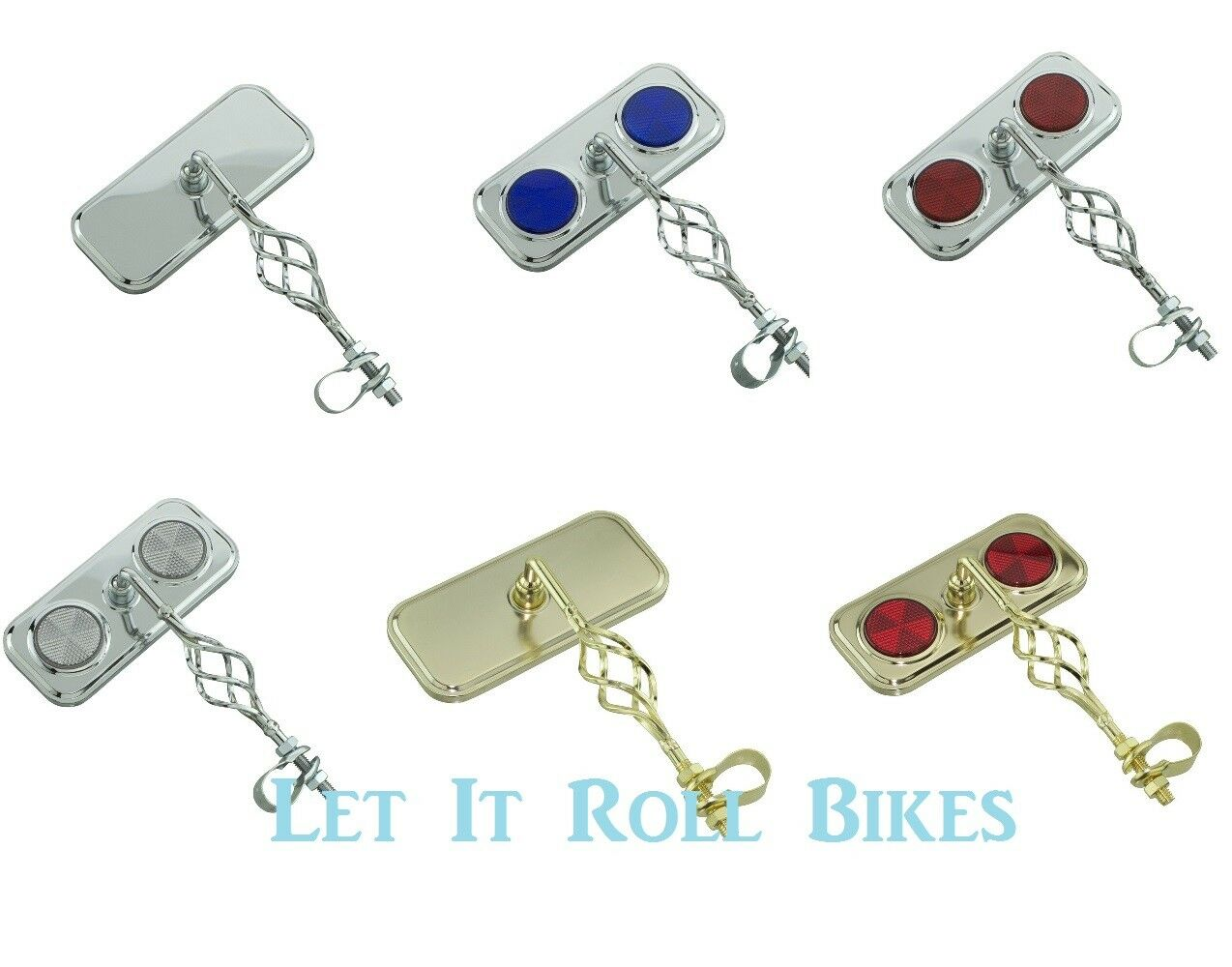 BICYCLE CAGED RECTANGLE MIRROR CHROME GOLD REFLECTORS LOWRID