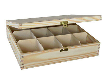 PLAIN WOOD - WOODEN BOX TEA BAG CHEST 12 COMPARTMENT