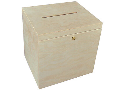 (P29/30) LOCKABLE PLAIN WOOD WOODEN BOX FOR WEDDING CARDS POST BOX WISHING WELL