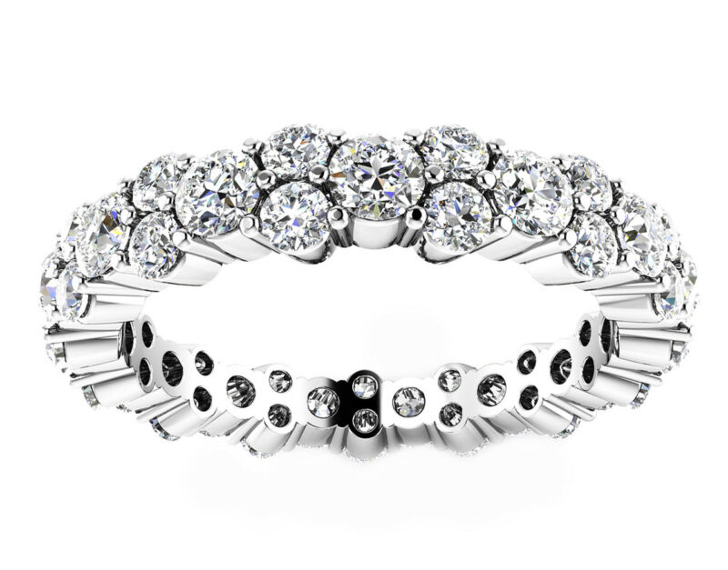 Round Brilliant Cut Diamond Eternity Band 4.25 Carat 18k White Gold