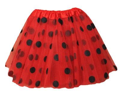 Ladybird Tutu Skirt Girls Lady Bug Red and Black Polkadot 3 Layered Fancy Dress (Red And Black Minnie Mouse Tutu)