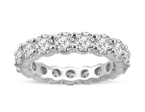 5 CTW Round Cut D/VVS Diamond Real 14KGold Engagement Eternity Band Wedding Ring