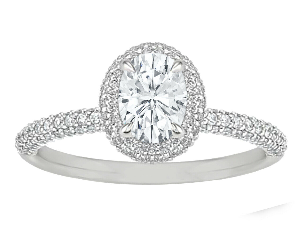 GIA Certified Diamond Engagement Ring 2.52 carat total Oval & Round Cut 14k Gold
