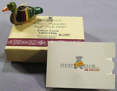 Zwei Präsente Steiff-Club - Zinn-Miniatur Steiff Ente + Steiff-Knopf Silber 925