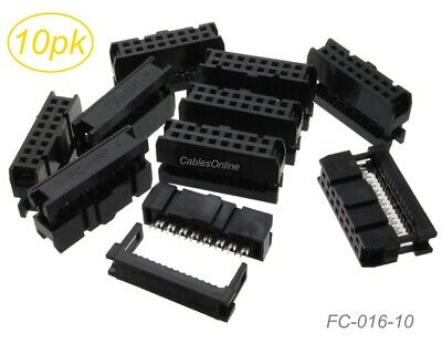 10-pack 16-pin 2x8 Female Idc 2.54mm Pitch Connectors For Flat Ribbon Cable