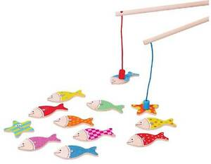 Lelin Wooden Childrens Magnetic Fishing Angler Puzzle Game Toy