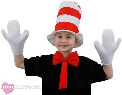 CHILD CRAZY CAT HAT FANCY DRESS WHITE GLOVES BOW TIE SCHOOL BOOK WEEK COSTUME ()