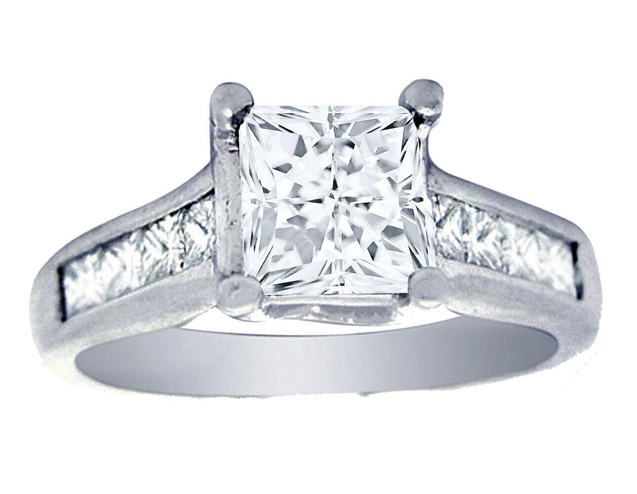 GIA Certified Diamond Engagement Ring 1.64 CTW Princess Cut 14k White Gold