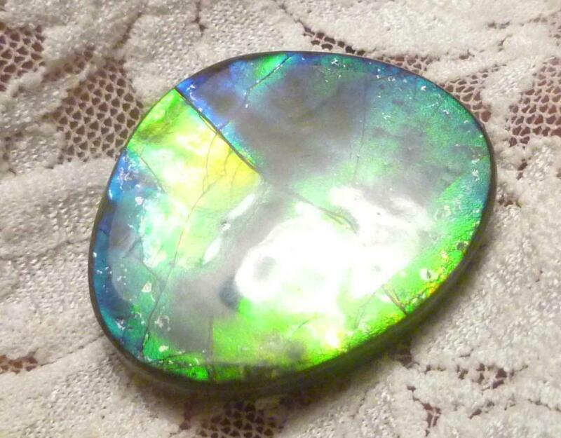 43.25 carats Purple Blue, Green AMMOLITE Freeform Finished Gemstone 30x26mm