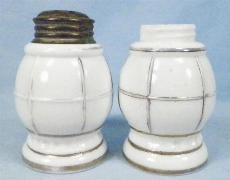 Antique Lantern Milk Glass Salt & Pepper Shakers Gold Highlights 1 LID MISSING