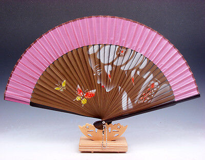 Palace Lady Butterfly Bamboo Folding Fan Hand Fan Wall Decor w/ STAND #02161701 Bamboo Decorative Wall Fan