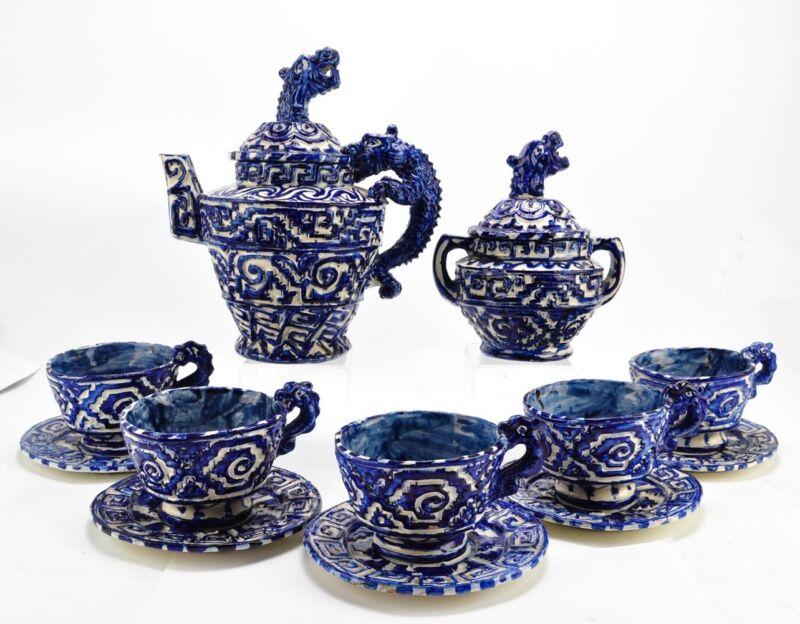 Extraordinary Mexican Dragon (Cheneque) Tea Set Vintage Folk Art