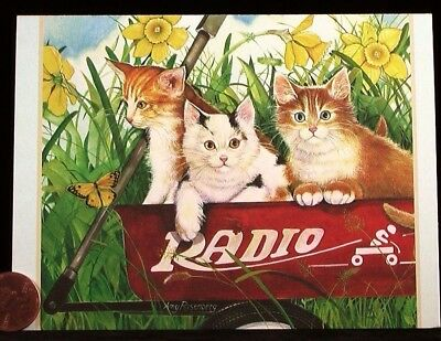Kittens Cats Radio Flyer Wagon Flowers Butterfly - Blank Greeting Note Card  NEW