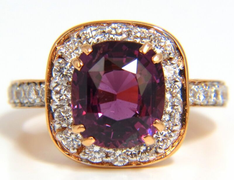 $12000 GIA 5.54CT NATURAL NO HEAT RED PURPLE SPINEL DIAMONDS RING 18KT UNHEATED