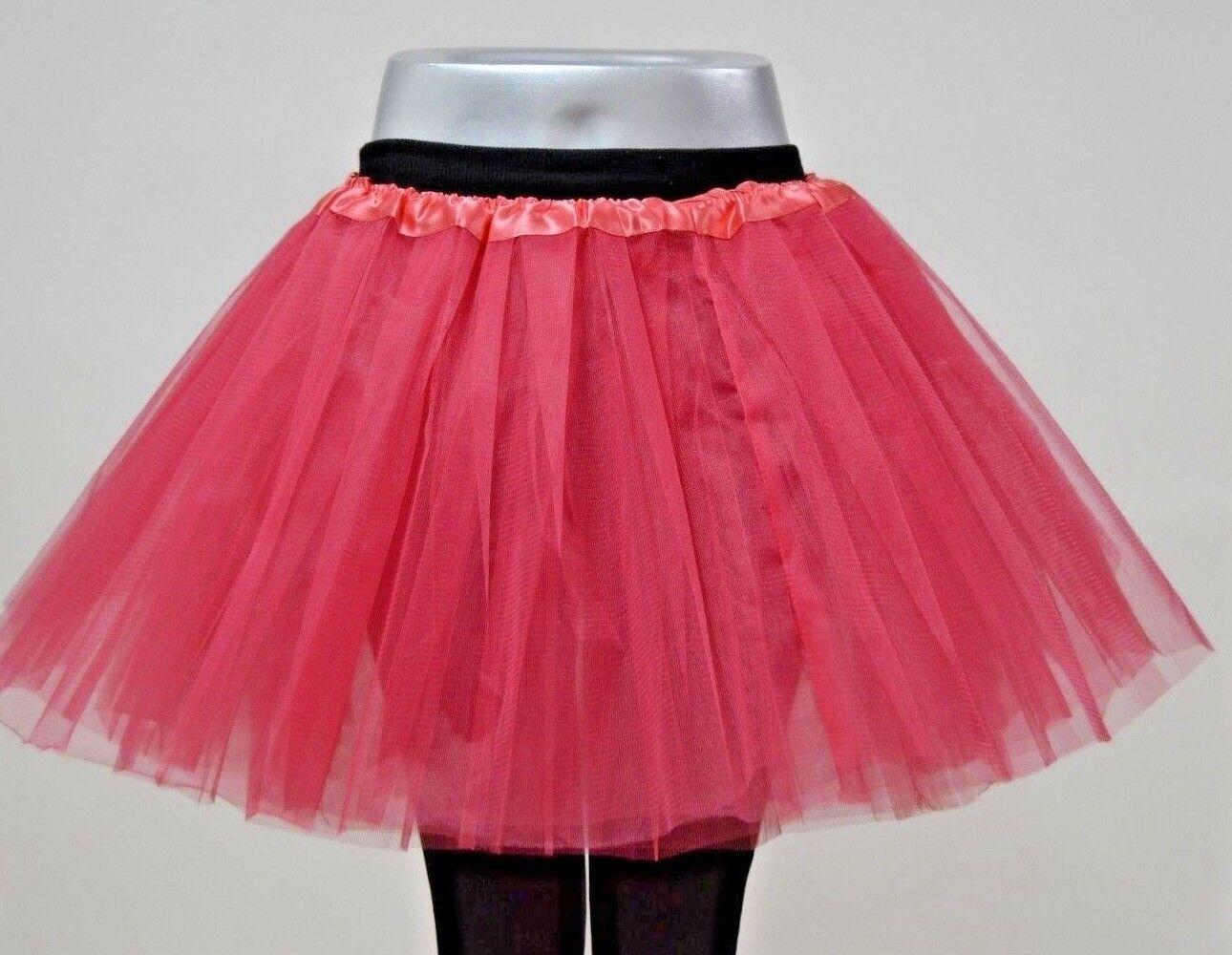 Tütü Tutu Ballettrock Tüllrock 3 Lagen Petticoat Ballettkleid Rock S-XL Pink