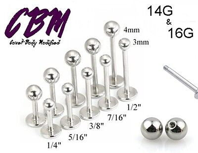 14g 16g Stainless Steel Labret Lip Monroe Cheek Tragus Ring Stud Silver - 14g Labret Ring