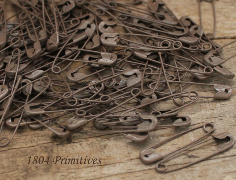 "144 Rusty Tin LOOK 1-1/8"" Safety Pins ~ Primitive Crafts"