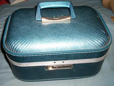 Vintage Trojan Train Suitcase Overnight Cosmetic Case W/Mirror+Keys Luggage