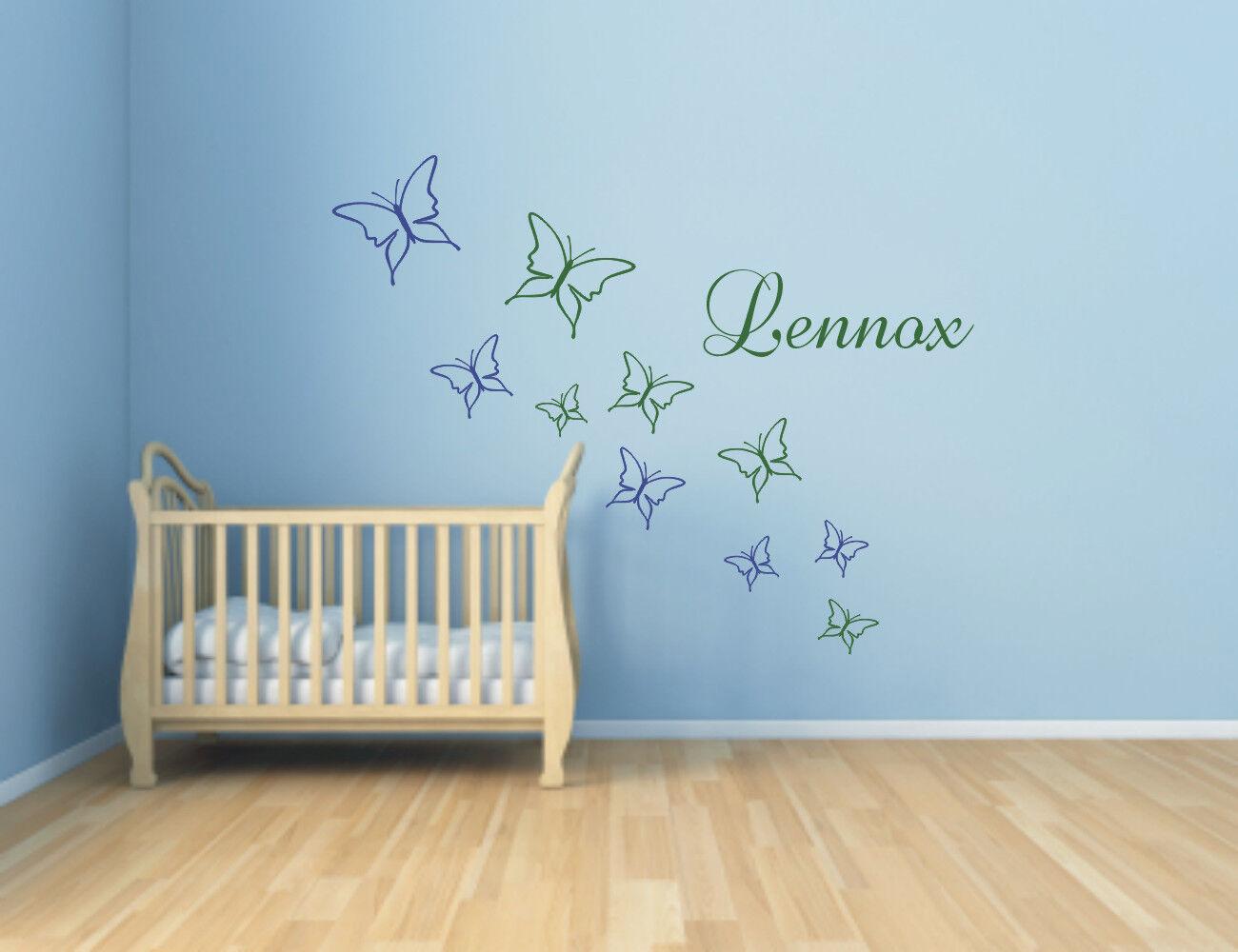 wandtattoo 10 schmetterlinge mit namen wunschnamen kinderzimmer 2 farbig eur 12 99. Black Bedroom Furniture Sets. Home Design Ideas