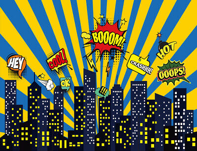 7X5FT Vinyl Backdrop Superhero City Night Scene Cityscape Photography - City Scene Backdrop