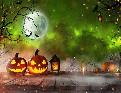 Halloween Fog Background (Spooky Forest Halloween Pumpkins Fog Backdrop 7x5ft Vinyl Photography)