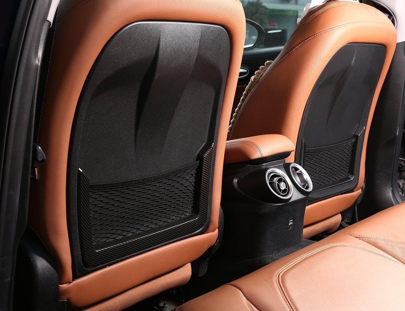 2pcs Carbon Fiber ABS Seat Back Frame Cover Trim For Alfa Romeo Giulia 2017