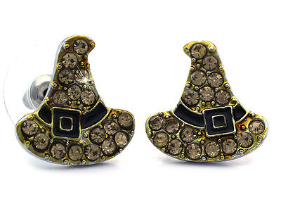Brown Witch Wizard Hat Stud Post Earrings Halloween Fashion Jewelry e100br](Brown Witch Hat)