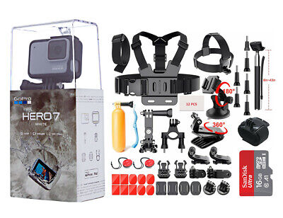 NEW SEALED GoPro HERO7 White HD Waterproof Action Camera CHDHB601 Sports Bundle
