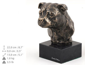 English Staffordshire Terrier dog bust marble statue ArtDog Limited Edition USA - <span itemprop='availableAtOrFrom'>Zary, Polska</span> - English Staffordshire Terrier dog bust marble statue ArtDog Limited Edition USA - Zary, Polska