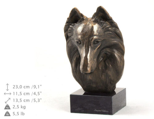 Belgian Shepherd, dog bust marble statue, ArtDog Limited Edition, USA
