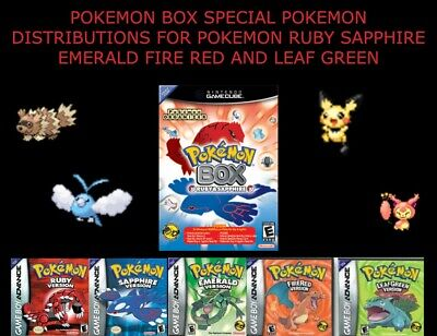 POKEMON BOX POKEMON DISTRIBUTION FOR EMERALD FIRERED LEAFGREEN RUBY AND SAPPHIRE