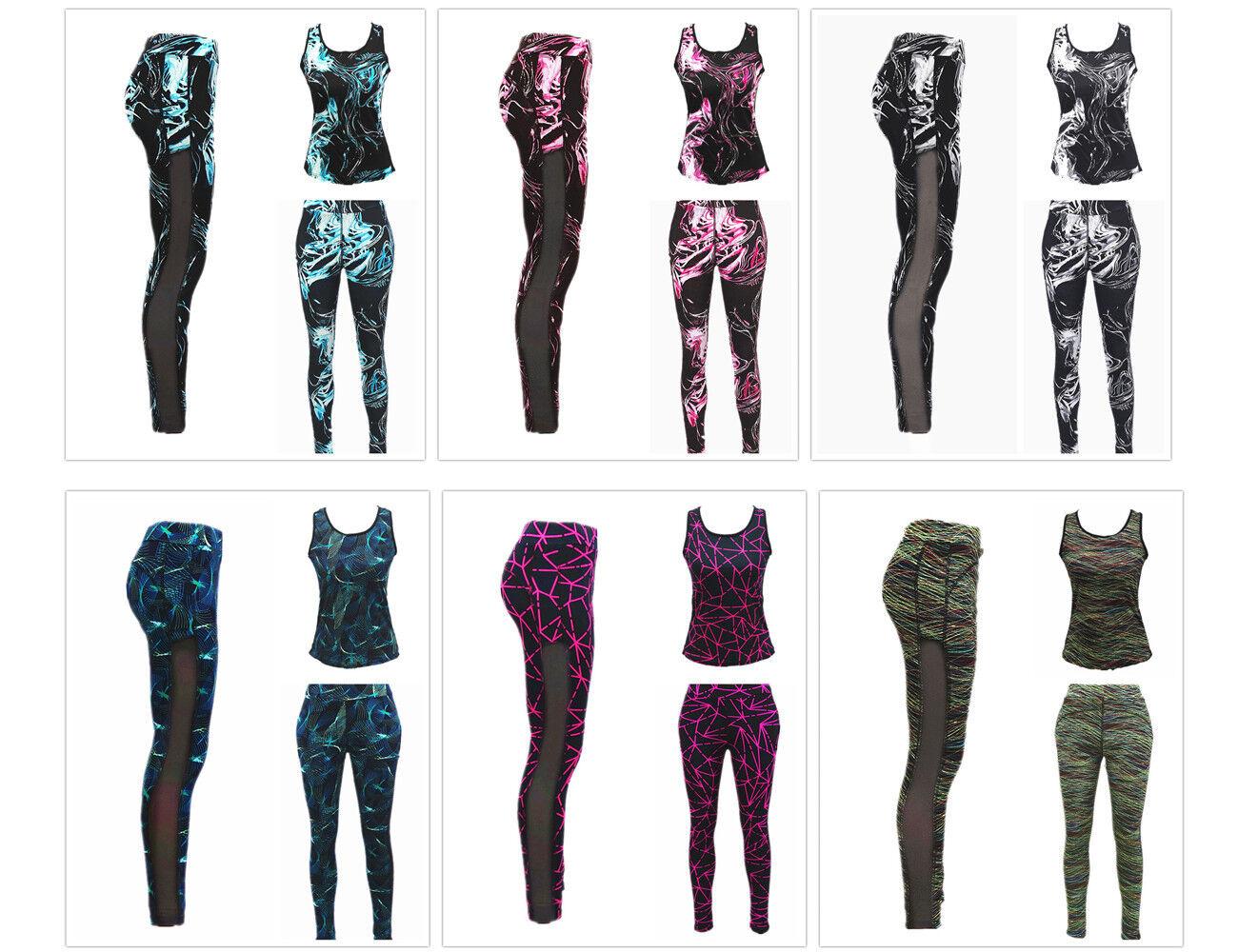 Damen Sport Wear Leggings Fitness Hose + Top Set Gym Yoga Tights S - XL
