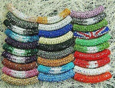 - Curved Czech Crystal Rhinestone Pave Tube Bracelet Connector Charm Beads 36color