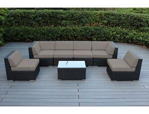 Ohana Wicker Patio Furniture 7 Piece Deep Seating Set   Sunbrella Taupe