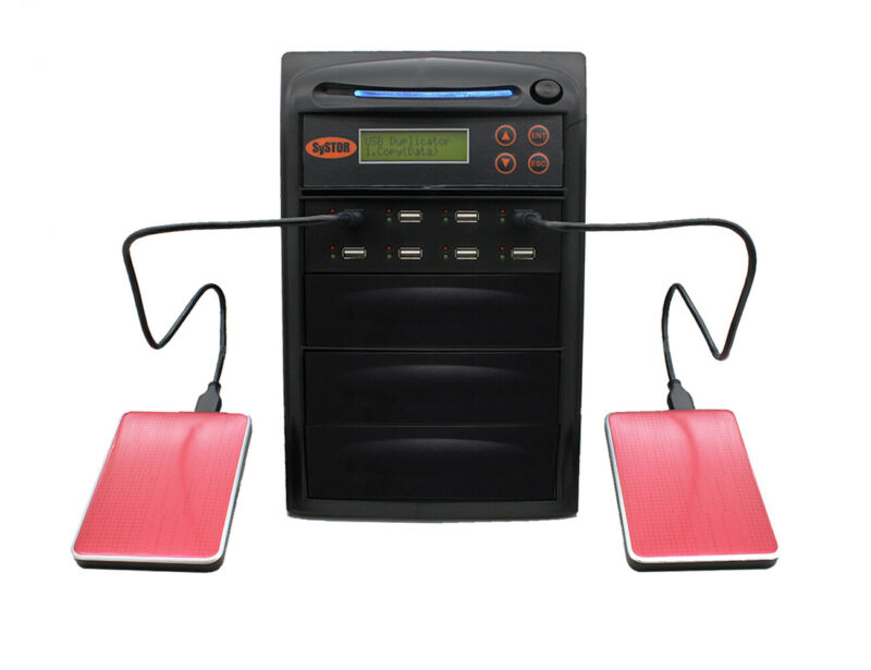 "SySTOR 1-7 Hi-Speed Duplicator 2.5"" External Hard Drive & USB Flash Memory Card"