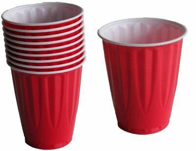 Red 18oz Plastic Party Cup x 120 Premium Heavy Weight Beer Pong Schooner - Red Plastic Cups Bulk