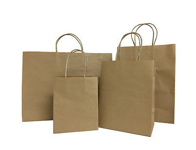 25pcs Brown Small-large Kraft Paper Bags Shopping Handles Party Gift Bags