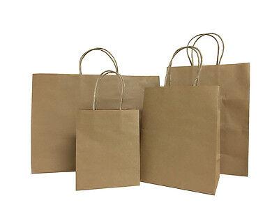 50pcs Brown Small-large Kraft Paper Bag Shopping Wedding Party Gift Handles Bag
