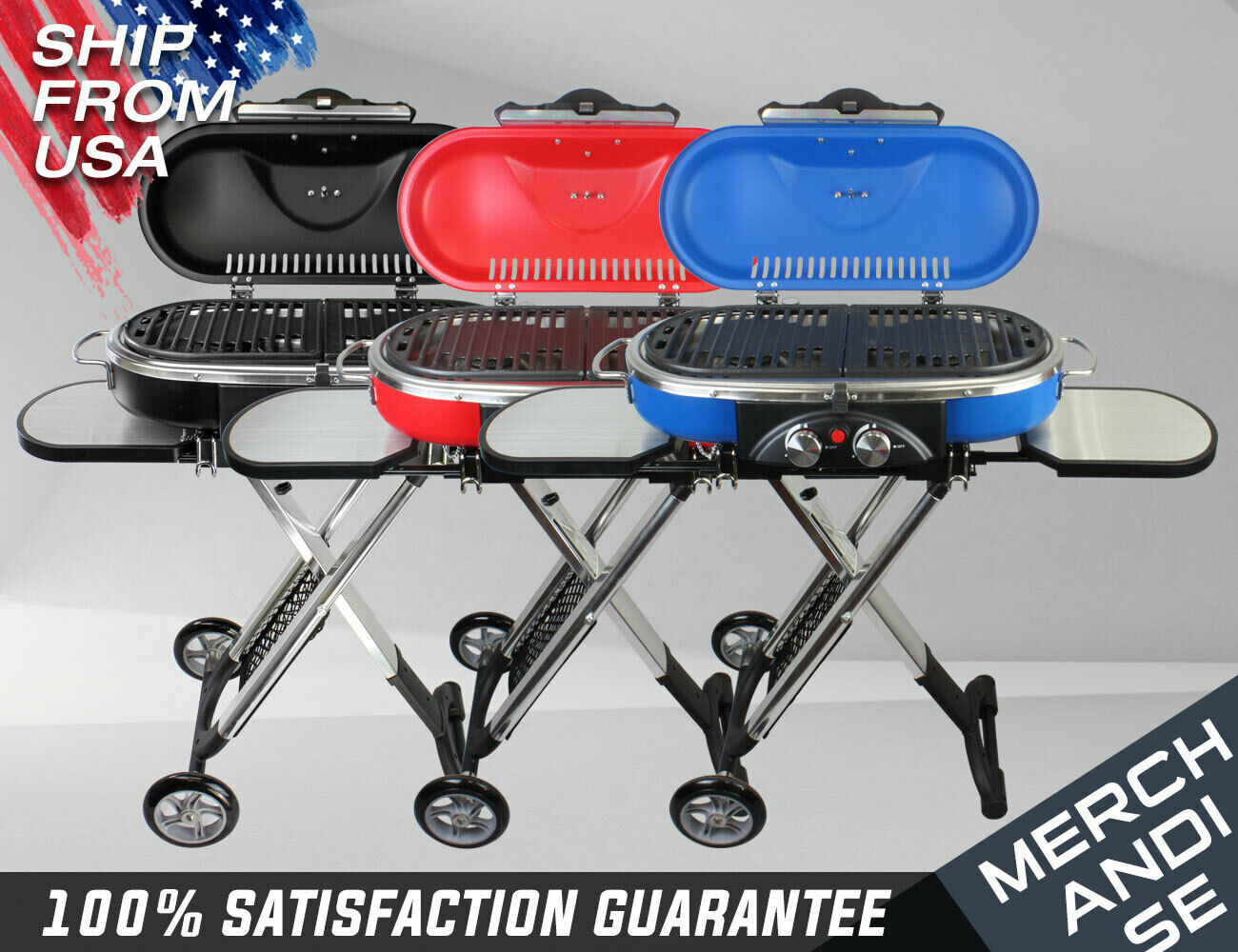 Portable Mini BBQ Grill 3 Colors Propane Foldable Cart, Camp