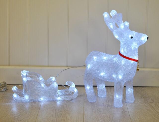Crystal Effect Reindeer & Sleigh Christmas / Xmas LED Light Decoration