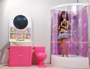 Dollhouse miniature Bathroom Shower toilet basin mirror Play Set for barbie doll