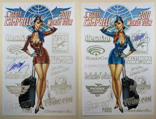 "J SCOTT CAMPBELL  signed  2011 CONVENTION TOUR SET 11"" X 17"" ART PRINT - RARE!"