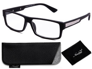 8990104676 Clear Lens Glasses Matte Black Bold Classic Frame with Non Prescription  Glasses