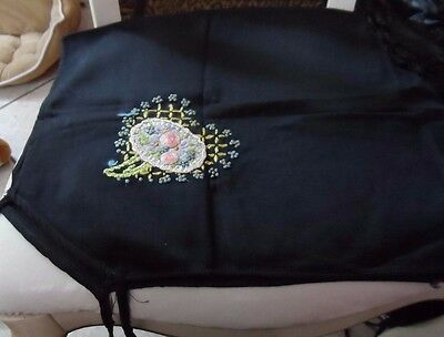 set of 2 Black hand embroidered and knotted with flowers card table covers