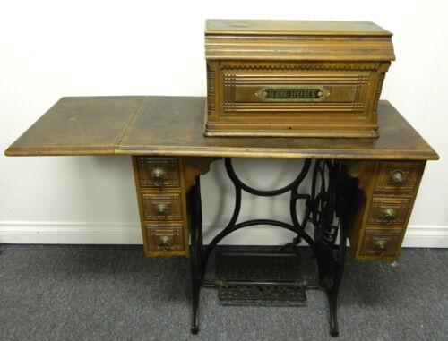 Antique 1890 New Home Treadle Sewing Machine Vintage Rare