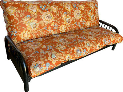 Full Size Futon Mattress Cover, Bed Protector Covers 100% Cotton Flower Deco #50 ()