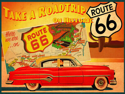 Route 66 Historic Roadtrip American Highway Metal Sign FREE SHIPPING