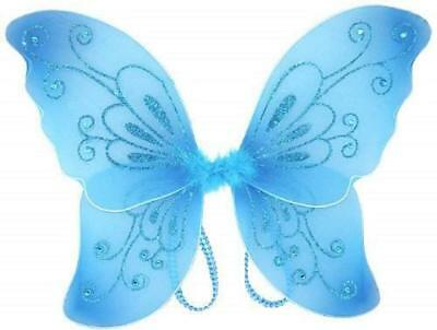 Sparkling Blue Fantasy Butterfly Fairy Wings Tinkerbell Kids Costume Accessory